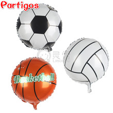 50pcs 18inch Basketball & Volleyball & Football Foil Balloons 3 Design Stickers Foot Football ballon P.E Boy/Girl Sports toys