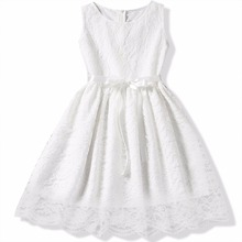 Vintage Flower Lace Baby Girl Dress Lace Teenage Girls Dresses For Special Events Wedding Princess Party Dress For Kids Clothes(China)