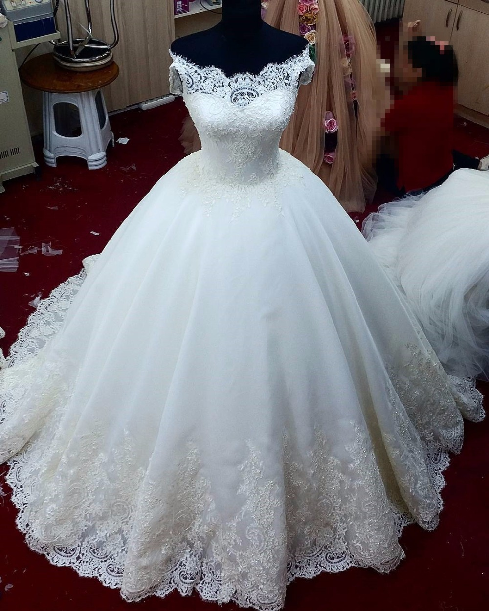 Buy Elegant Lace Wedding Dresses Long Veil 2018 Sweetheart Shoulder ...