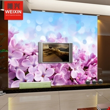Free Shipping Dream purple flower 3D wallpaper living room TV Bedroom Sofa Bar KTV background non-woven wallpaper mural