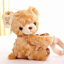 candice guo! cute plush toy lovely papa brown teddy bear doll soft crossbody bag small pocket shoulder bag birthday gift 1pc