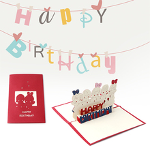 Birthday Card 3D Stereoscopic Paper Laser Cut Children Birthday Handmade Post Cards Custom Gift Greeting Cards Souvenirs