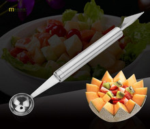 1PC Longming Home Stainless Steel Melon Baller Fruit Carving Knife Double Side Melon Scoop Vegetable Carving Tool KX 146
