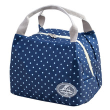 Striped Dot Portable Lunch Bag Thermal Insulated Cold keep Food Safe warm Lunch bags For Girls Women#121(China)