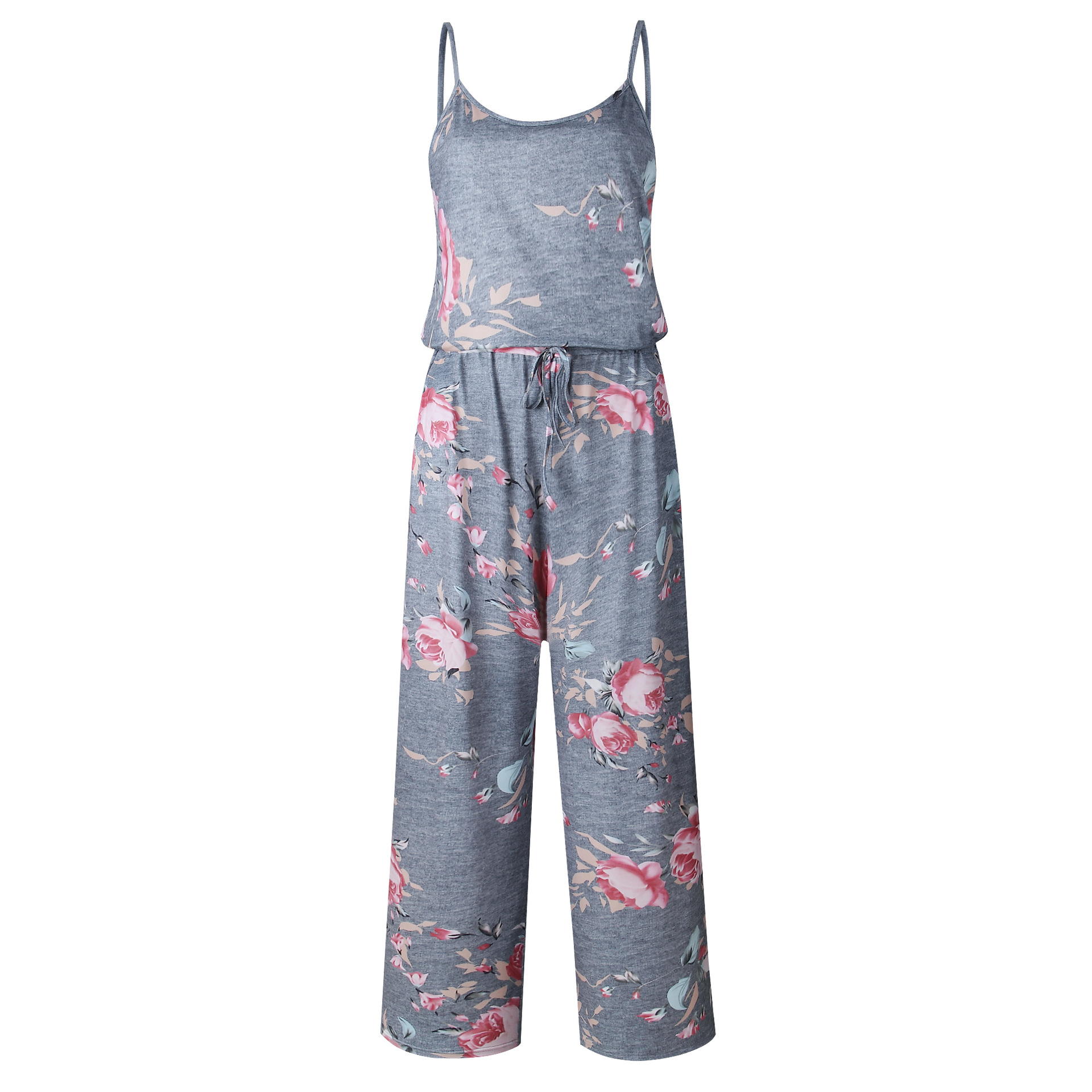 Spaghetti Strap Jumpsuit Women 2018 Summer Long Pants Floral Print Rompers Beach Casual Jumpsuits Sleeveless Sashes Playsuits 12