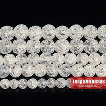 "Free Shipping Natural White Snow Cracked Crystal Stone Beads 15"" Strand 4 6 8 10 12 14MM Pick Size For Jewelry Making AB15"