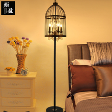 American retro crystal black color wrought iron cage floor lamp living room dining room standing lamp(China)
