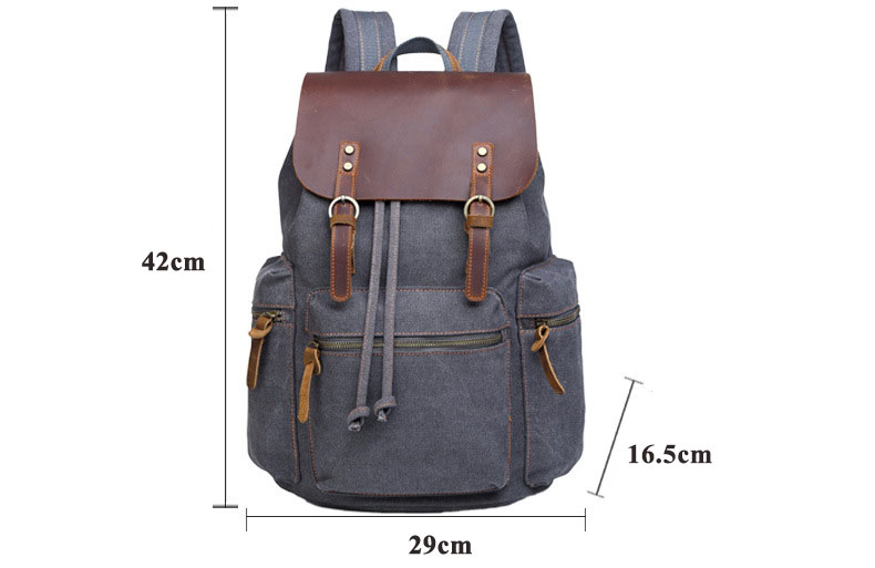 FLug Katze Men's canvas SUB Backpack Vintage School Bag Rucksack casual Leisure Travel Bag Men's Laptop Backpacks