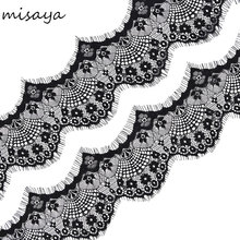Smiry 3 Yards Eyelash Black Soft Floral French Lace Fabric Decoration Crafts Sewing Lace Trim Fabric For Dress Making Decoration(China)