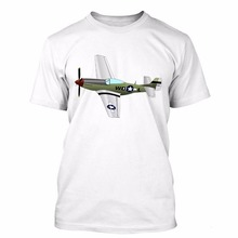 2017 Hot Sale New Men's T Shirt Brand Clothing Summer Tops Hip Hop Tees Mustang I Love Airplane Ww2 Funny Crossfit T-Shirt