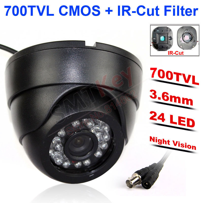 "24pcs IR LED Night vision Real 700TVL 1/3"" Color CMOS High Resolution IR Indoor Dome Camera CCTV Camera security camera(China)"