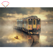 diy Square/round diamond painting Old train cross stitch 3d diamond embroidery kits picture of stones rain color umbrellas(China)