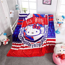England Hello Kitty Prints Blankets Throw Girls Baby Home Bedding Cartoon Polyester Coral Fleece Fabric Twin Queen Size Red Blue