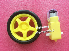 2set Deceleration DC motor + supporting wheels smart car chassis, motor / robot car wheels for arduino