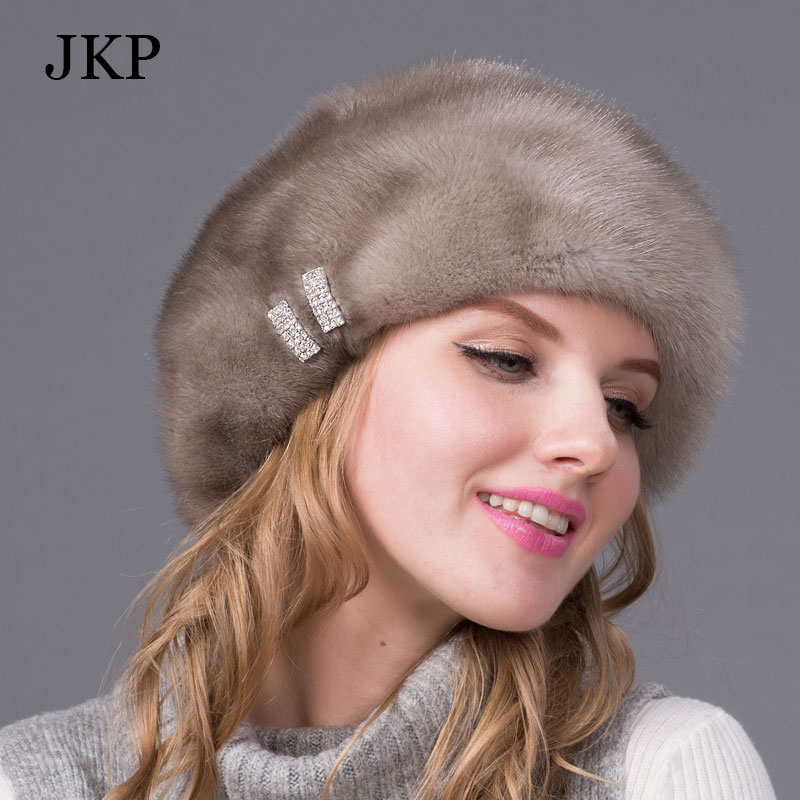 Real mink fur hats for winter women fur cap with diamond Brown mink Beanies mink fur beret Russia good quality elegant hatОдежда и ак�е��уары<br><br><br>Aliexpress