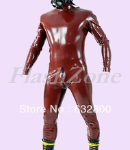 Latex clothing club bodysuits for men with back zip to abdomen(China)