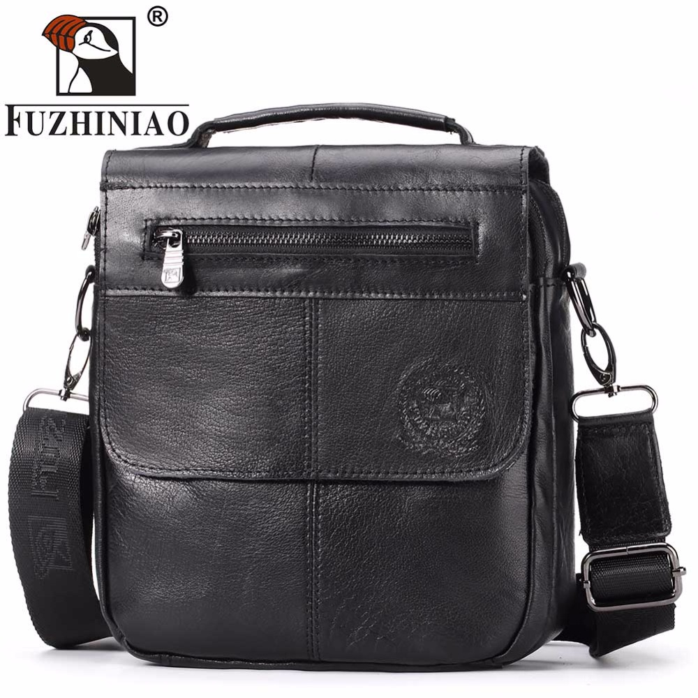 FUZHINIAO Zipper Design Genuine Cow Leather Men Messenger Bags High Quality Fashion Male Shoulder Bag Small ipad Tote Vintage<br>