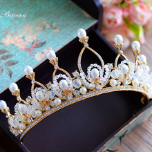 Bavoen Fashion Pearls Pearls Brides Hairbands Crystal Gold Tiaras Crown Wedding Hair Accessories