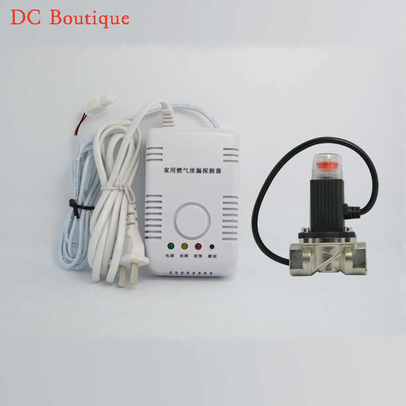 (1 set) Home security Alarm Coal Gas natural gas LPG Leak Fire Sensor with Valve Cut off piping Stand Alone Gas Alarm Sensor <br>
