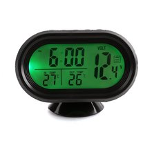 Multi-Function Digital 12V Car Voltage Alarm Temperature Thermometer Clock LCD Monitor Battery Meter Detector Display(China)