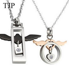 TJP 2017 Valentines Gift Lovers Necklace High Quality Fastness Stainless Steel Angel Wings Necklace for Couples Factory Price