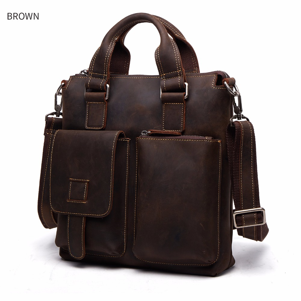Designer Genuine Leather Men Briefcase Shoulder Tote Bag Messenger Bags Men Business Laptop Vintage Handbag Male Crossbody Bags
