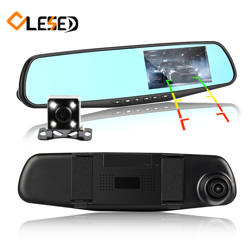 dual lens car camera rearview mirror auto dvrs cars dvr parking video recorder registrator dash cam full hd 1080p night vision(China)