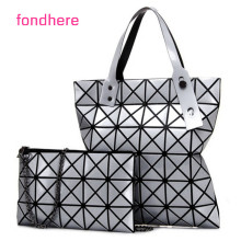 fondhere Women Geometric Plaid Bag Folded Madam Messenger Ladies Handbag + Shoulder Bag PU Leather High Quality Tote Double Bag