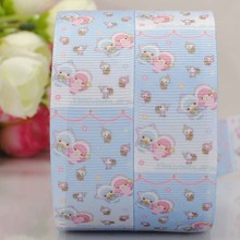 free shipping 50 yards lovely blue little twin stars printed grosgrain ribbons cartoon ribbons LTS60023 DIY handmade