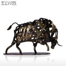 Tooarts Metal Figurine Iron Braided Cattle Figurine Vintage Home Decor Handmade Animal Crafts Accessories Gift For Home Office(China)