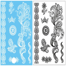 2Pcs a Lot Lady New Lace White Black Henna Temporary Tattoo Sticker Totem Butterfly Sun Design Brand Body Art for Women