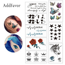 Addfavor 5 Sheets Water Transfer Temporary Tattoos Body Arm Art Sleeve Sexy Flower Butterfly Totem Symbol Fake Tattoo Stickers(China)