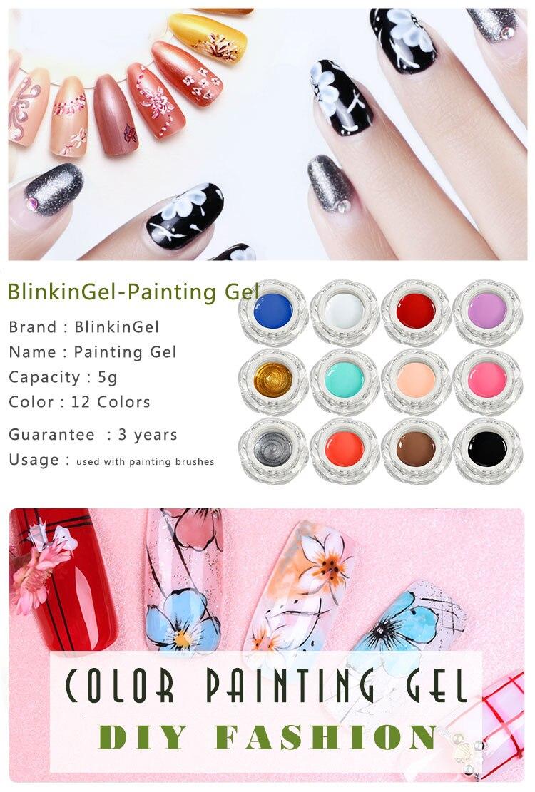BlinkinGel UV Gel Nail Polish Base Coat Painting Gel Nail Nude Gel Paint  Flowers Gels Paste Polish Resin Nail Gels Polish 5g 43fc7d305de2
