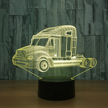 Truck Christmas 3d Light Fixtures Children Gift Toy Wireless Novelty Luminaria Led 3d Night Light Usb Led Lamp(China)