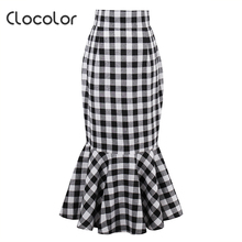 Clocolor woman fishtail skirt retro black white plaid fishtail skirt 2017summer vintage sexy Female trumpet cotton mermaid skirt(China)