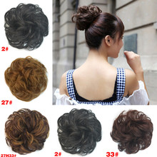 LNRRABC Sale Women Ladies Girls Headwear Synthetic Hair Chignon Elastic Hair Bun Extension Curly Scrunchie Hair Bundles