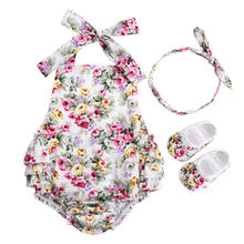 3 PCS Baby Girl Clothing Set Baby girls Vintage Floral Toddler Girl Rompers Onesie Baby Jumpsuit With Bow Headband Shoes Set