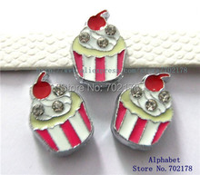 wholesales 10pcs ice cream Slide Charms 8mm Fit Can through 8mm band 8mm Pet Dog Cat Tag Collar Wristband