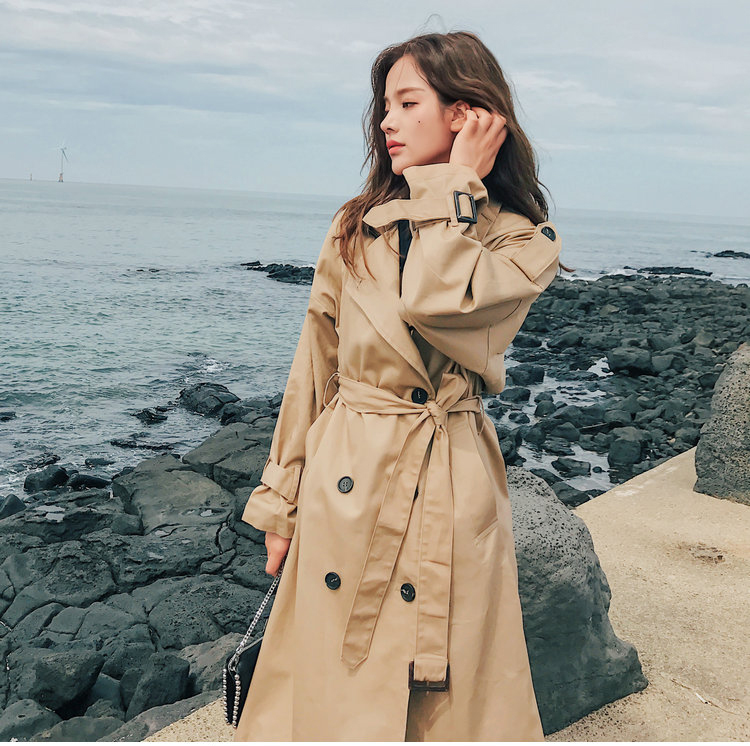 19 Fashion Brand New Women Trench Coat Long Double-Breasted Belt Khaki Office Lady Clothing Autumn Spring Outerwear Quality 9