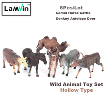 Lamwin 6Pcs/Lot Realistic Wild Animal Toy Set Plastic Hollow Action Figure Mini Camel Horse Cattle Donkey Antelope Deer Model