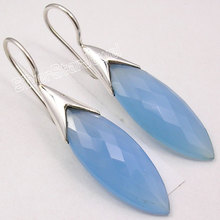 Silver CHALCEDONY BIG Dangle Earrings 4.4CM(China)