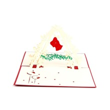 10pcs/lot Laser Cut Invitations 3D Cubic Christmas Bell Greeting Cards Pop Up Card(China)