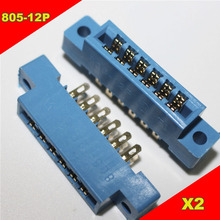 Sample,2pcs/Lot 805 Card Edge Connector 3.96mm Pitch 2x6 Row 12 Pin PCB Slot Solder Socket SP12 Dip Wire Solder Type