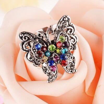 Butterfly Ring among Color Crystal Peacock Ring