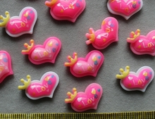 250pcs Resin Flatback pinky love heart with crown cabochon Cabs -DIY scrapbook, hair bow and flower centers lovely crown(China)