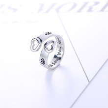 "New Fashion Love Heart Animal Jewelry Dog Paw Print Ring Vintage Women Dog Paw Open Adjustable"" I will love you forever"" Rings!!"