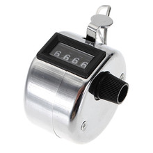 Silver Color Tally Click Counter Stainless Metal Mini Sport Lap Golf Handheld Manual 4 Digit Number Hand Tally Counter Clicker