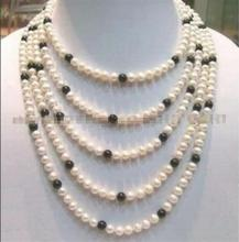 "Free shipping hot sale Women Bridal Wedding Jewelry >>NATURAL SOUTH SEA 7-8MM WHITE + BLACK AKOYA PEARL NECKLACE 100""(China)"