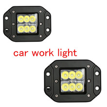 wholesale 2pcs LED Work Light for Motorcycle Tractor Truck Trailer Off road Driving Vehicle 24W Spot Lamp(China)