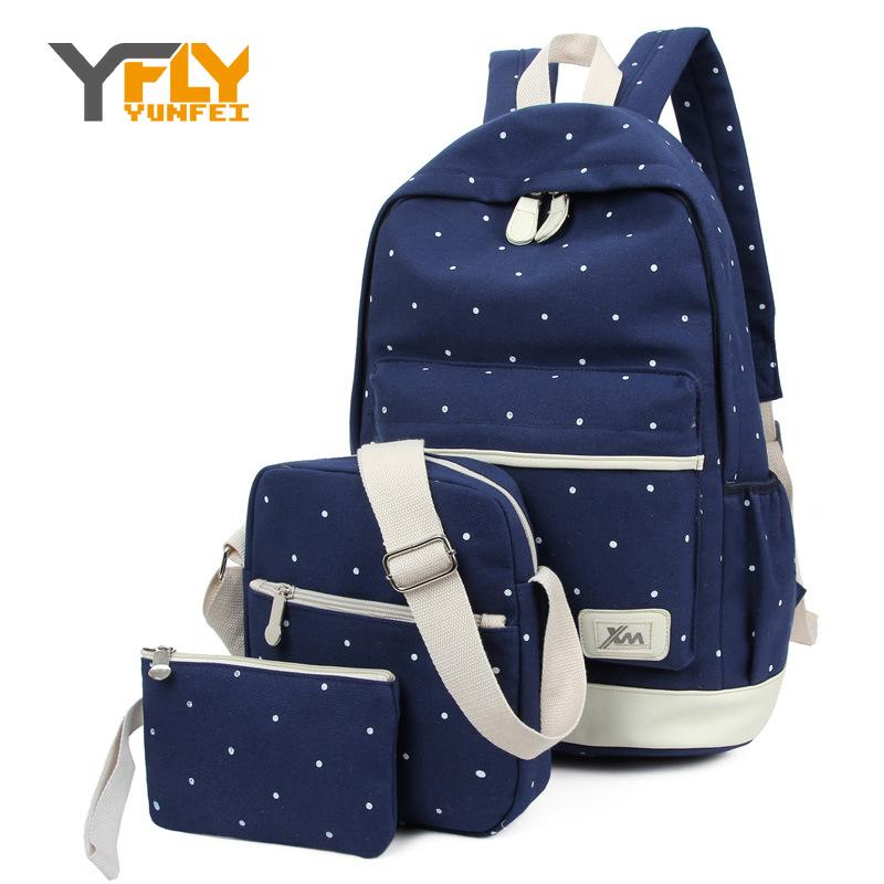 Y-FLY 3pcs/set 2017 Canvas Fashion Backpacks for Teenage Grils New Casual Women Backpack Preppy Dot Computer Travel Bags HC5045<br><br>Aliexpress